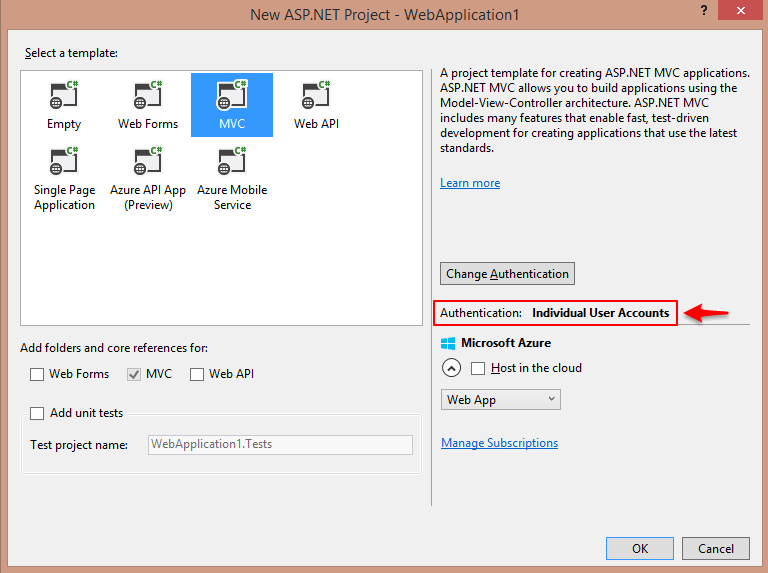 Visual Studio MVC Template with Authentication Example