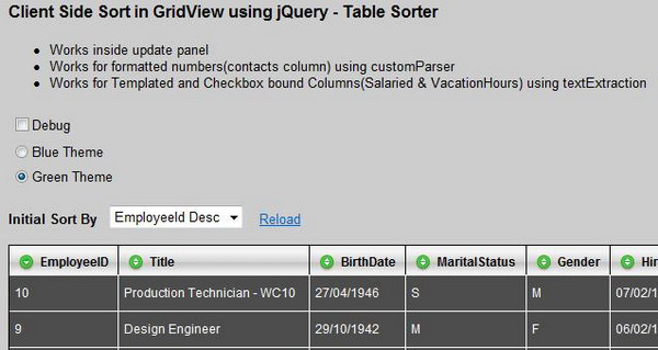 Client Side Sort in GridView using jQuery - Table Sorter
