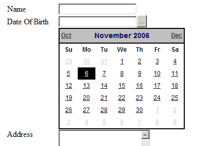 Simple ASP.NET Calendar