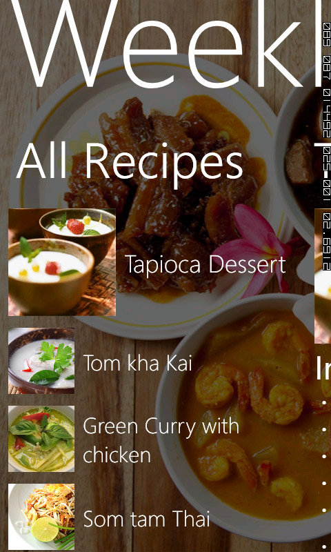 Screenshot Weekly Thai Recipe