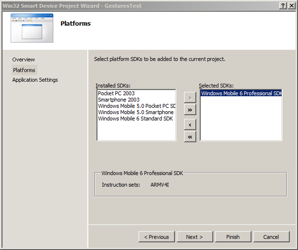 Select the Windows Mobile 6 Professional SDK
