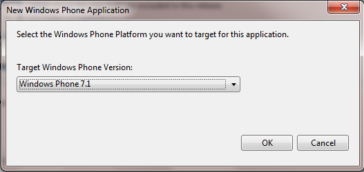 Choose target Windows Phone platform.