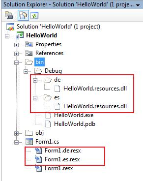 Figure 3: Resources files created by Visual Studio