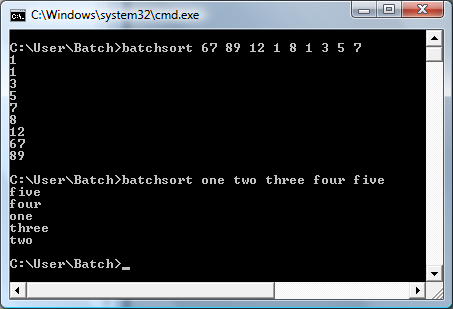 Batch File Bubble Sort