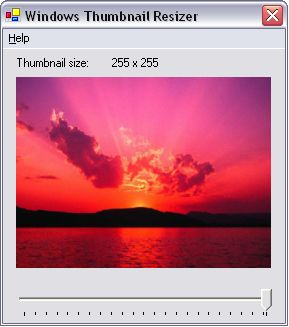 Screenshot of the Windows Thumbnail Resizer