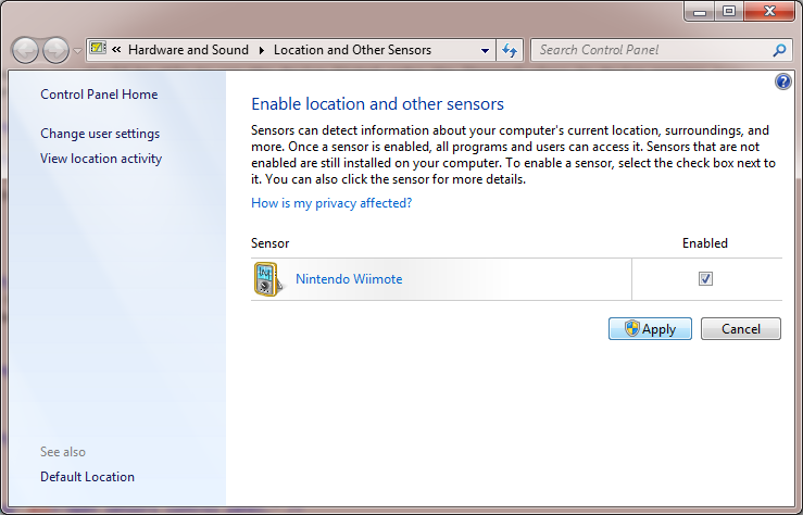 Enable Wiimote sensor.