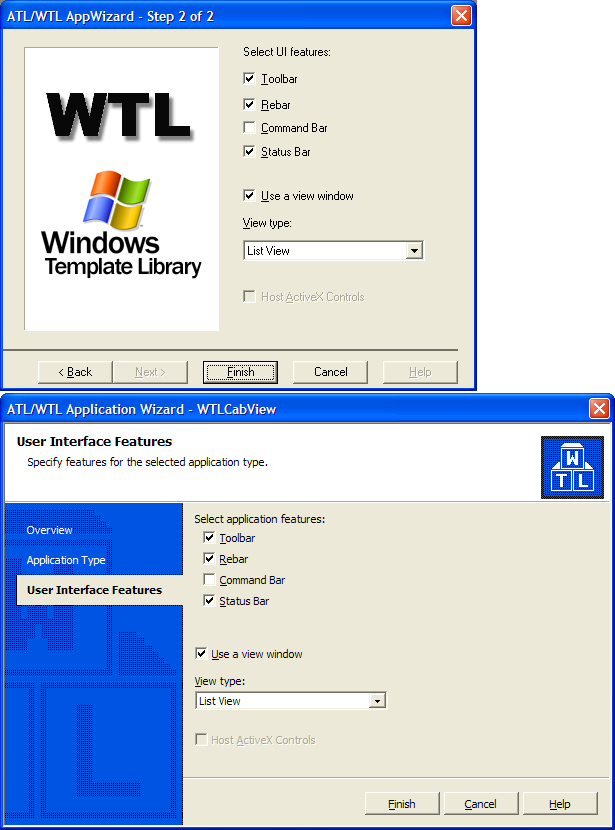 define application window and document window
