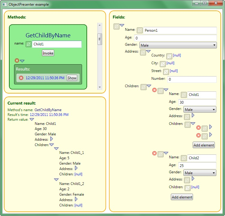 ObjectPresenter example
