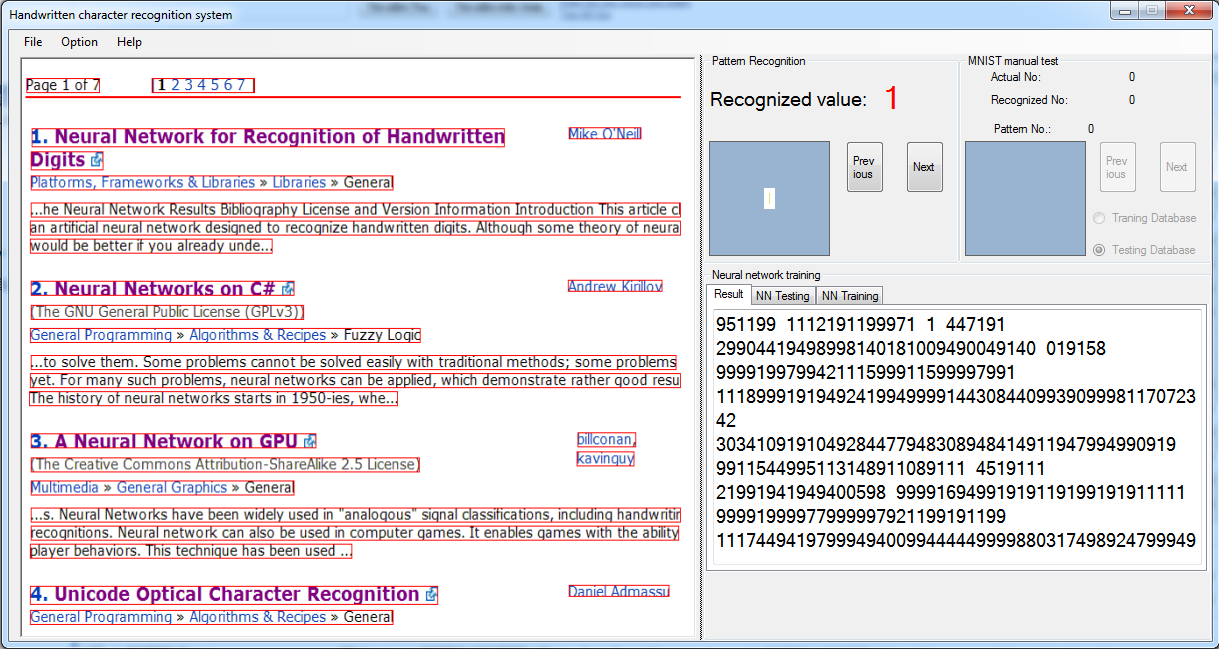 Neural Network for Recognition of Handwritten Digits in C#