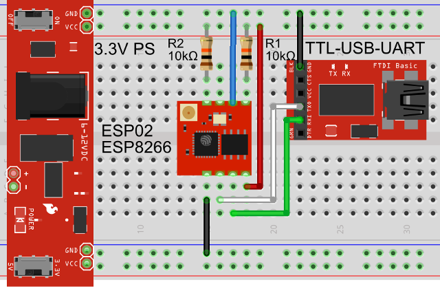 ESP8266 PC USB Connection via TTL Module on a Breadboard