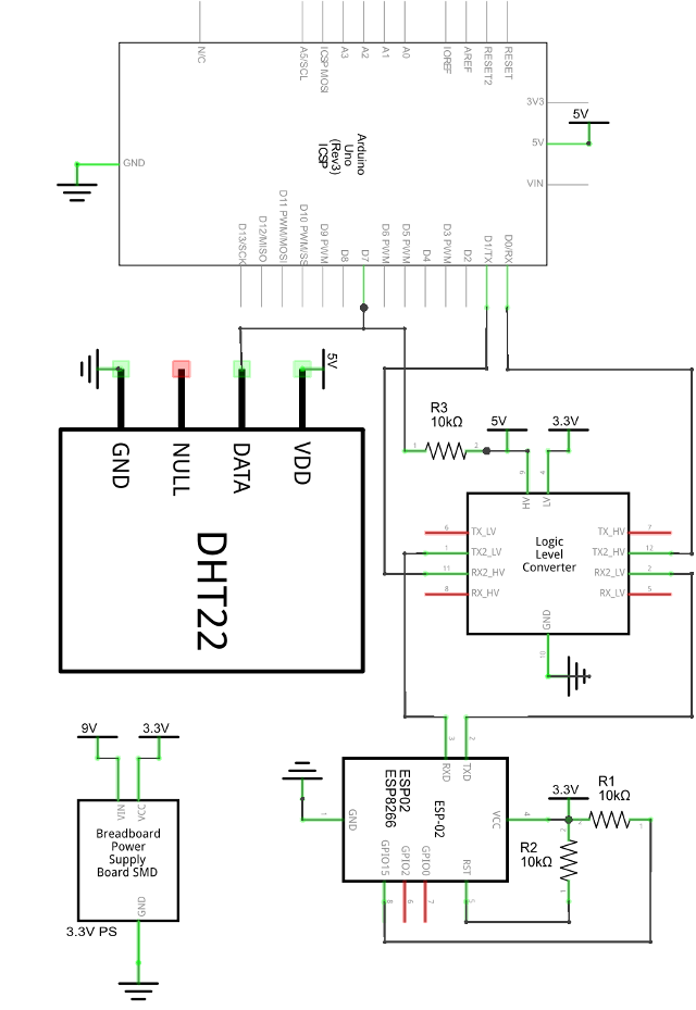 Circuit Diagram of an ESP8266 WiFi Module Connected to an Arduino UNO Board