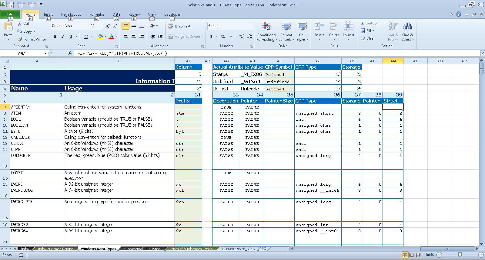 far right edge of the Windows Data Types worksheet