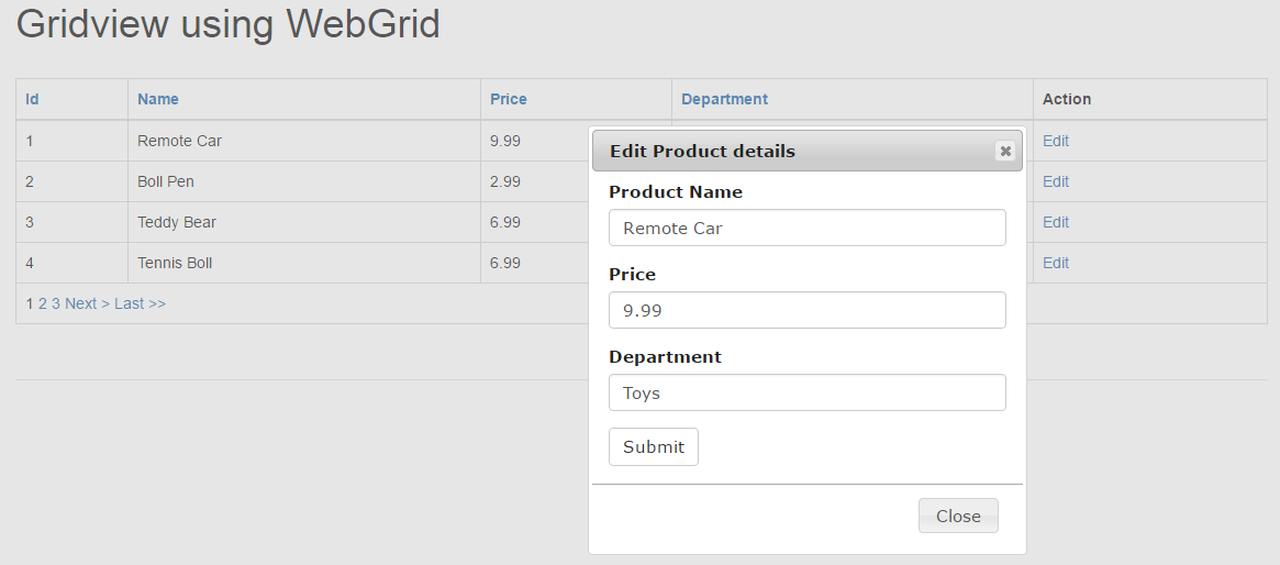 Gridview In Asp Net Mvc Codeproject