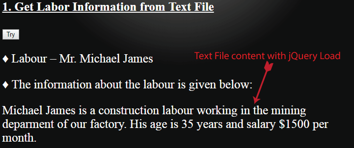 Text File content with jQuery Load