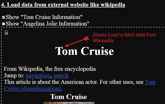jQuery Load to Fetch Data From Wikipedia