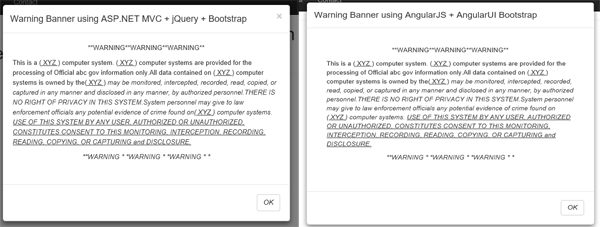 MVC Warning Banner using Bootstrap and AngularUI Bootstrap