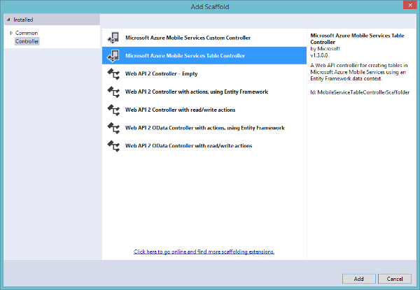 Microsoft Azure Mobile Service Add Table Controller