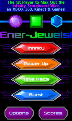 Ener-Jewels TGIF! Main Menu Screen with House Ad