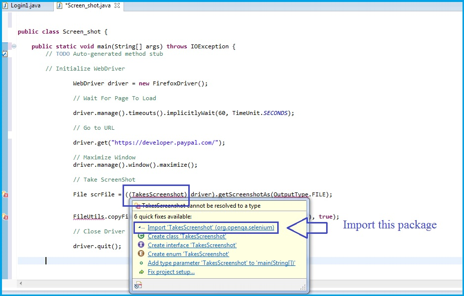 A Small Tip for How to Take Screen Shot Using Selenium WebDriver