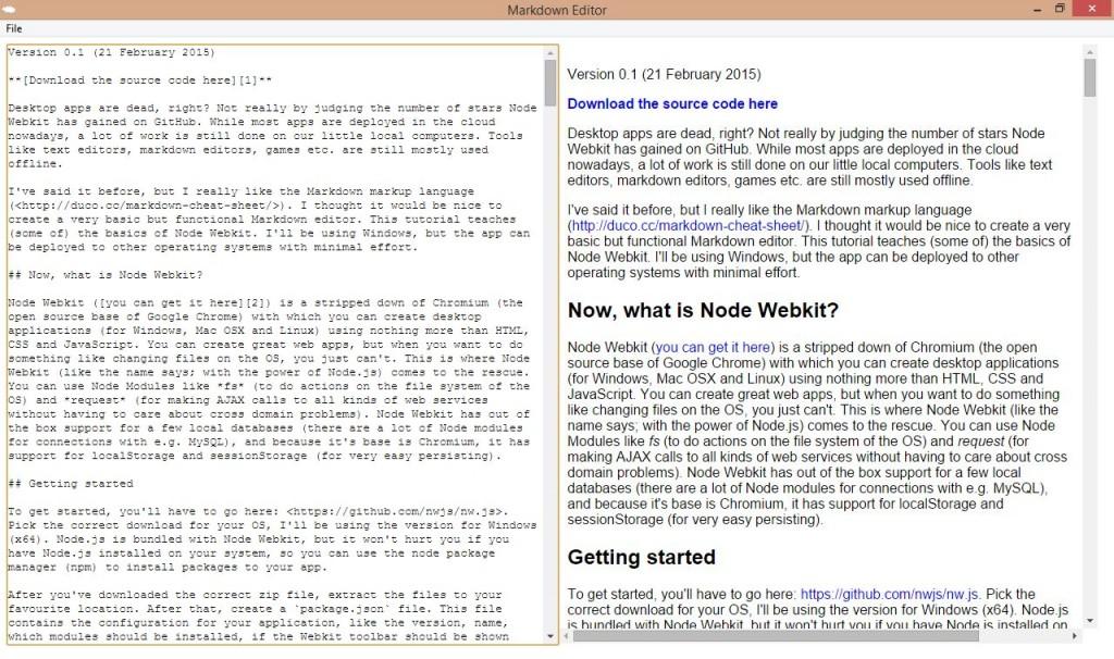 Node Webkit (NW js) tutorial: creating a Markdown editor - CodeProject