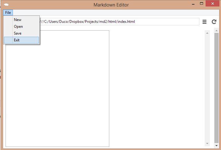 Node Webkit (NW js) tutorial: creating a Markdown editor
