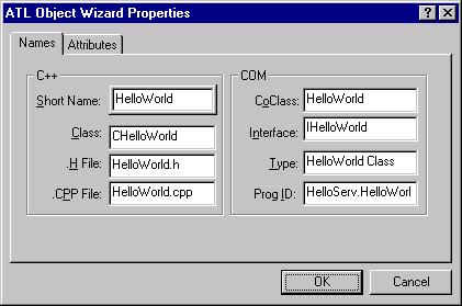 The ATL Object Wizard Properties dialog with the Names tab filled in.