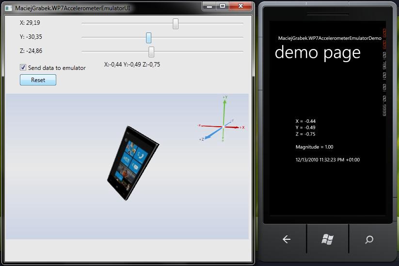 WP7 Accelerometer Emulator UI