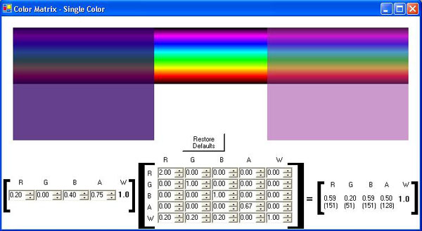 Figure 6 Color Matrix for a single color demonstration.