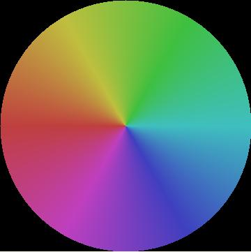 hue wheel, with lum and sat at .5
