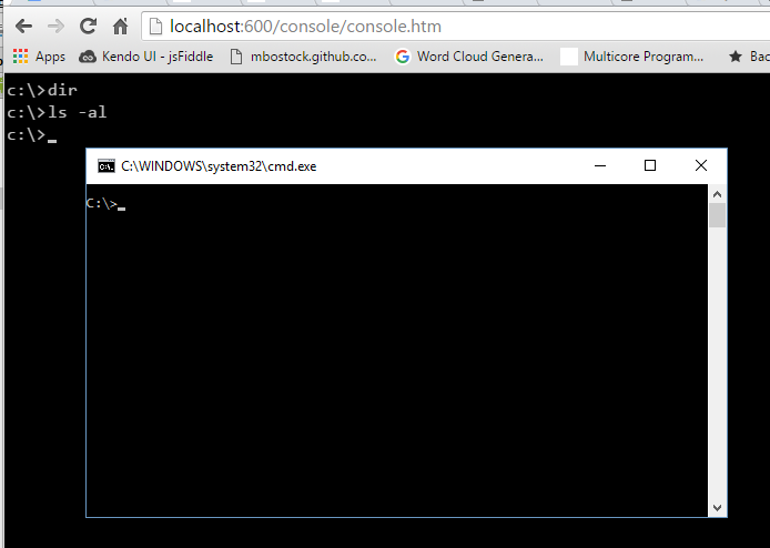 Command Console in your browser via HTML5 Canvas & JavaScript