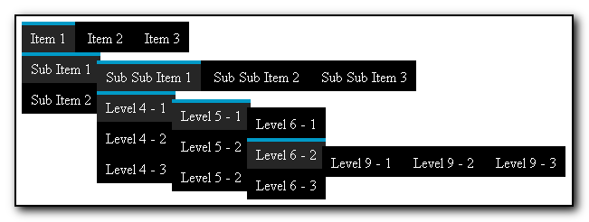A Pure-CSS Menu Supporting Unlimited Levels of Both Horizontal and