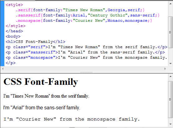how to change font style in html code