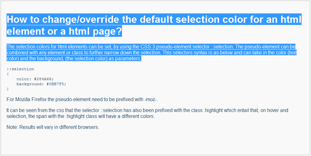Change/Override the Default Selection Color for HTML - CodeProject