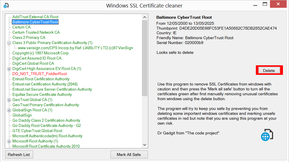 Windows Ssl Certificate Cleaner Codeproject