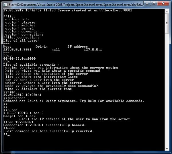The command line interface of the server