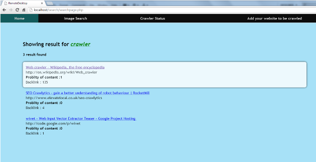 search page for crawler
