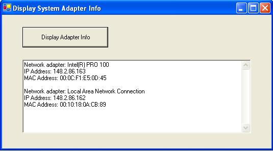 Network Adapter MAC / IP Address Info Display Application Using C# ...