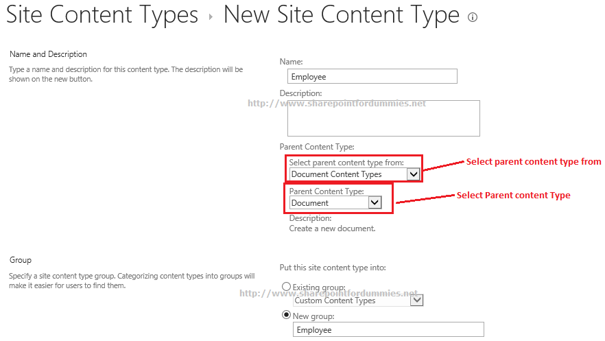 how to create page content type in sharepoint 2013