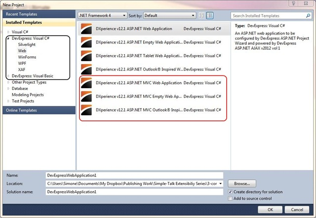 Experimenting with DevExpress DXv2 v2012 MVC Extensions and