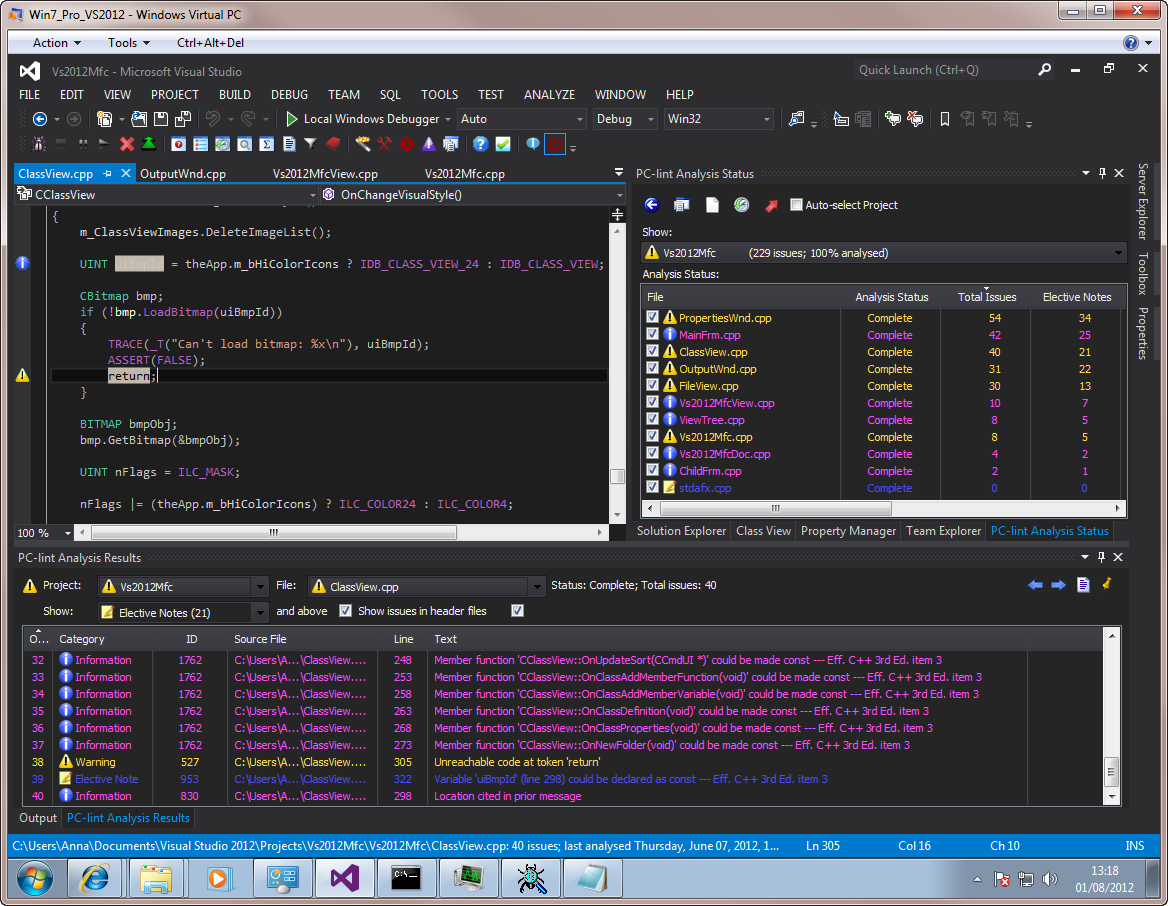 Visual Lint running with the Visual Studio 2012 RC dark theme