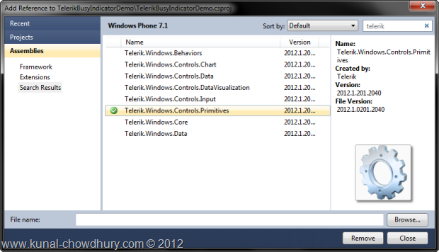 Telerik.Windows.Controls.Premitives Library Reference Added