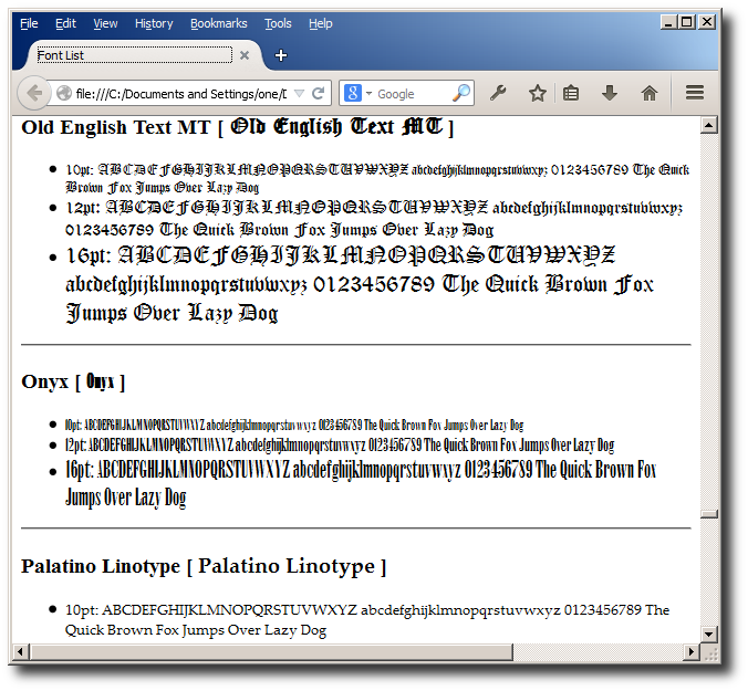 Font samples document can be examined in a web browser.