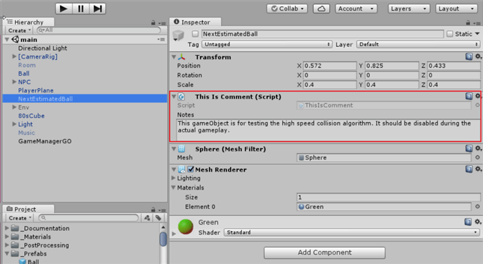 How to Add Comments/Notes to a GameObject in Unity3D