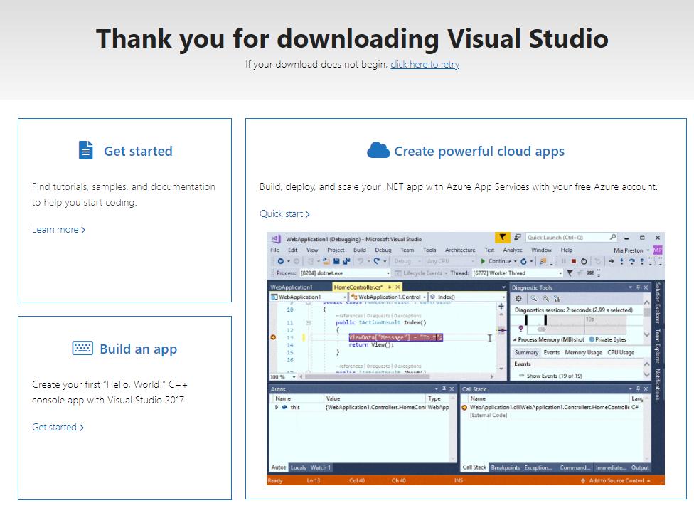Visual Studio 2019 RC入门指南的图像2  - 第1部分