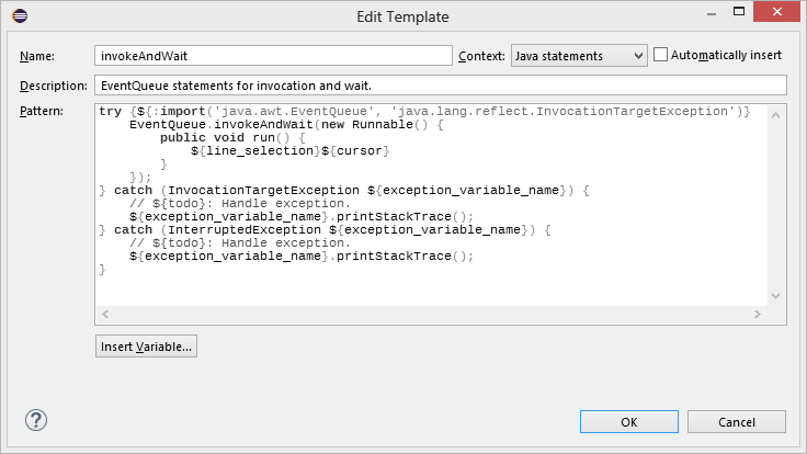 what is a template in java - eclipse java eventqueue templates codeproject