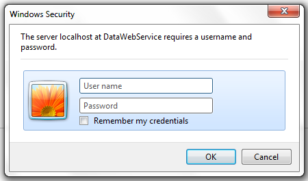 Digest Authentication Credentials Screen