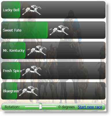 The WPF Horse Race application in action.