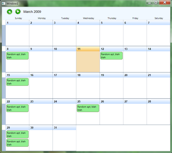 Monthly Calendar Visual Basic : Quick and simple wpf month view calendar codeproject