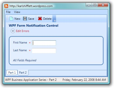 WPF Business Application Series Part 2 of n - Form