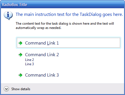 Command link box emulated on Windows XP